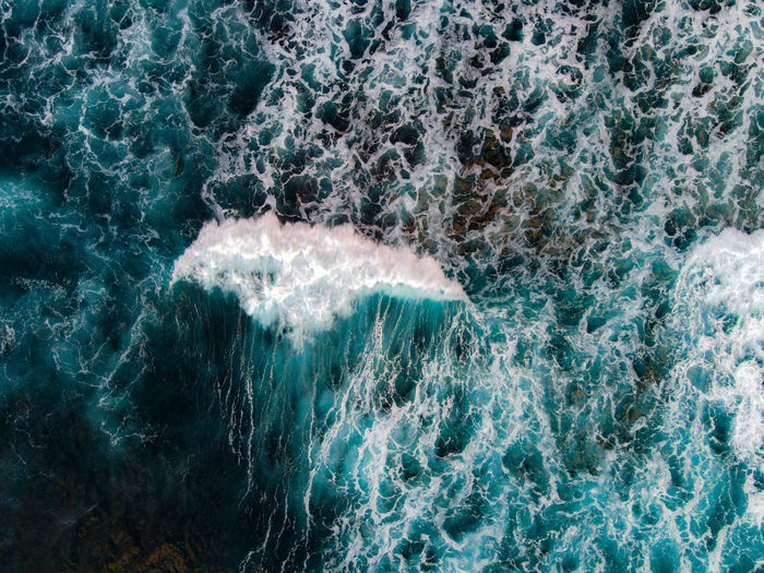 Aerial view of blue wave