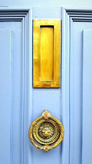 Blue door Door Knocker Door Letterbox Brass Brass Door Fittings No People Outdoors Close Up blue colour