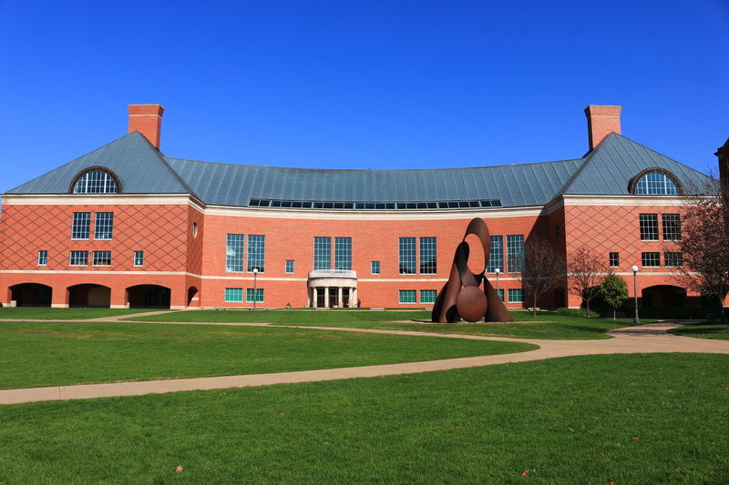 One of the red brick buildings in the engineering department at University of Illinois Architecture Building Building Exterior Built Structure Business Finance And Industry College College Girl  College Life Day Grass Illinois Lawn No People Outdoors School U Of T