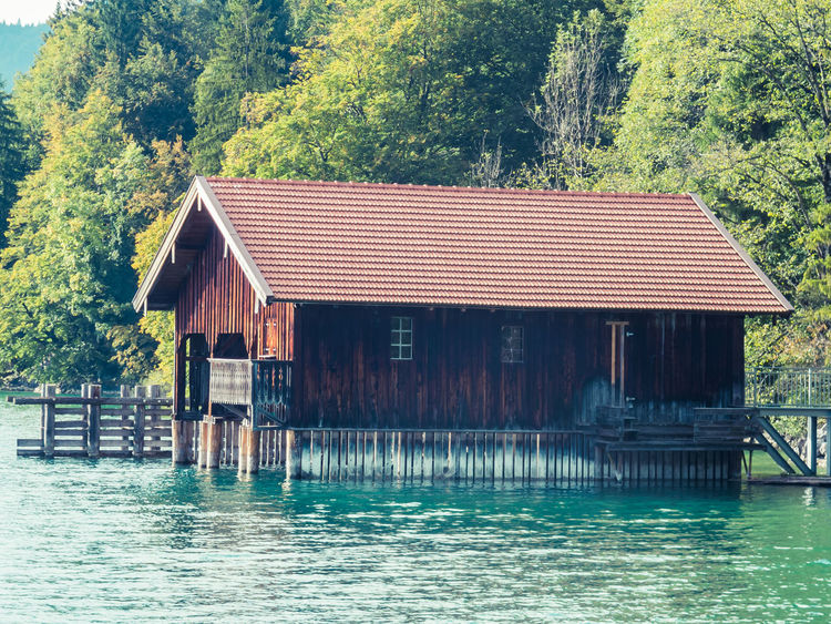 Architecture Beauty In Nature Boathouse Building Exterior Built Structure Day House Nature No People Outdoors Sky Stilt Tree Walchensee Water Waterfront