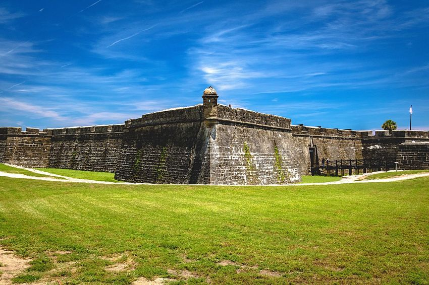 History Built Structure Architecture Building Exterior Grass Sky Day Travel Destinations Outdoors Castle Green Color No People Sunlight Nature Saint Augustine Florida Castillo De San Marcos Fort Protection Old Old Buildings Historic Historical Building Coquina Wall Been There.