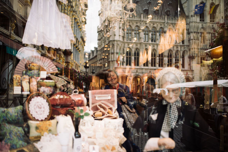 Belgium Happy Reflection Shopping Lace People Smiling Textile Windowshopping Second Acts