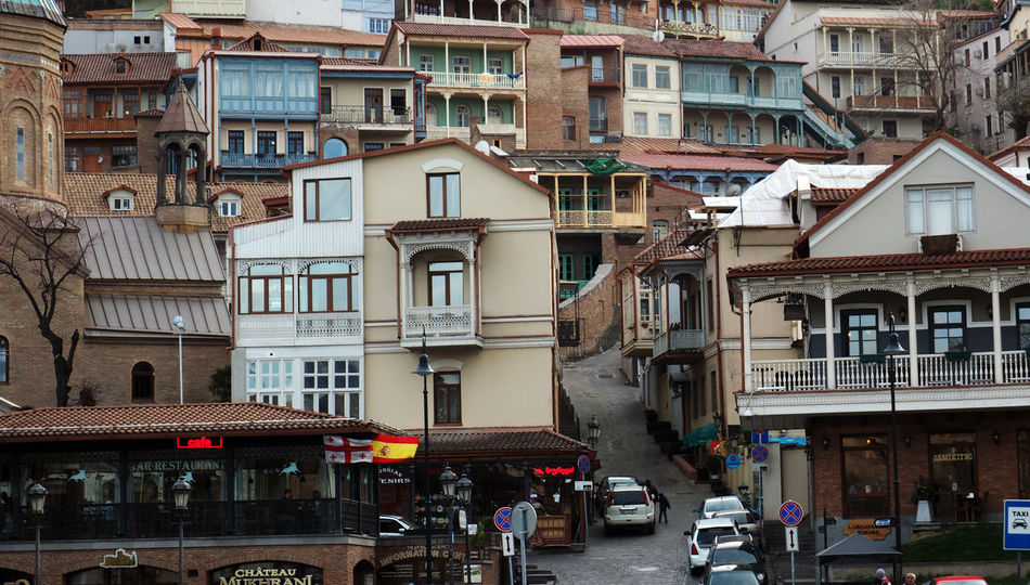 View of Tbilisi Old town Sololaki Architecture Building Exterior Built Structure Car City City Life City Street Day Land Vehicle Mode Of Transport Old Outdoors Residential Building Residential District Residential Structure Road Sololaki Street Tbilisi The Way Forward Transportation Vehicle View