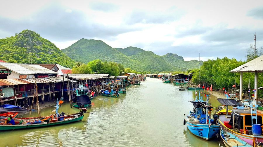 Fisherman village Beautiful Nature Boats River Fisherman Village Mountains Prachuabkirikhan
