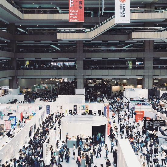 Mass of people in a design exhibition. Crowd Crowed Lifestyles Architecture Busy Exhibition Taipei Taipei,Taiwan Taiwan