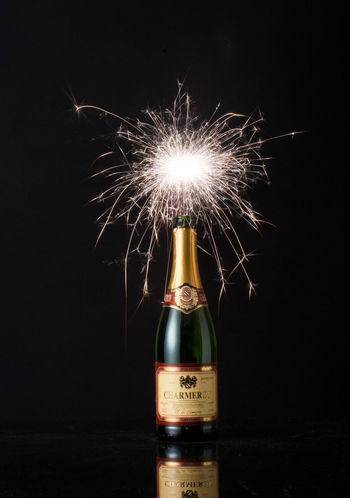 Black Bottle Celebracion Celebration Champagne Firework - Man Made Object Illuminated Night No People Outdoors Vertical