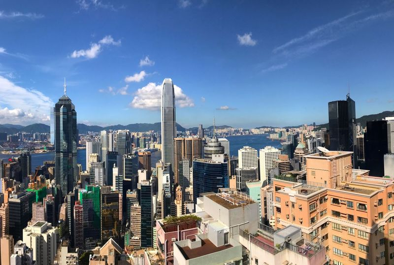 Architecture Cityscape Skyscraper City Building Exterior Built Structure Tall - High Tower Modern Crowded Sky Travel Destinations Urban Skyline Cloud - Sky Outdoors Downtown District Day Hong Kong Panoramic View