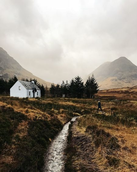 Mountain Environment Sky Landscape Cloud - Sky Scenics - Nature Beauty In Nature Built Structure Direction The Way Forward Tranquil Scene Tranquility Mountain Range Building Exterior Mountain Peak Outdoors Trail Nature Land Tree Glencoe Scotland Highlands Of Scotland