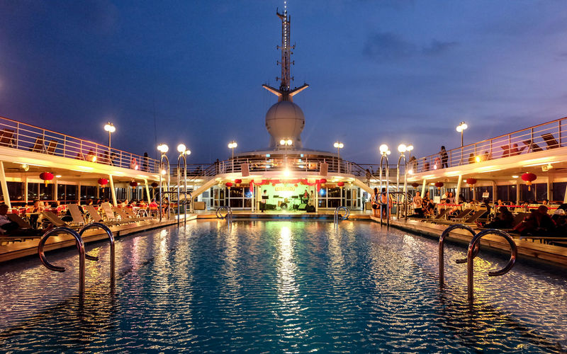 Cruise Leisure Activity Lifestyles Lights Star Cruise Swimming Pool Swimming Pool At Night Tourism Travel Destinations