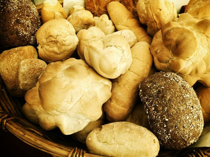 Variety of breads in wicker basket