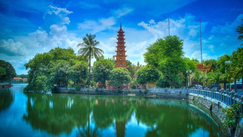 Tran Quoc Pagoda, Hanoi, Vietnam Buddhism Hanoi Vietnam Sky Reflection Water Plant Tree Cloud - Sky Architecture No People Travel Destinations Lake Outdoors Building