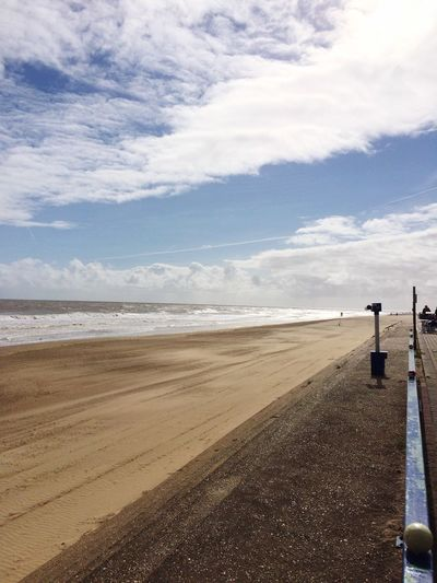 Beach Waves Sea Sand Promenade Clouds Clouds And Sky Mablethorpe