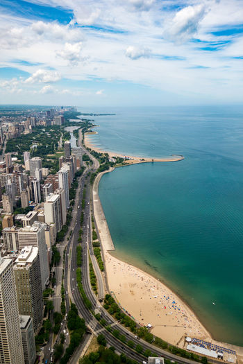 Aerial View Of Chicago City At Seaside