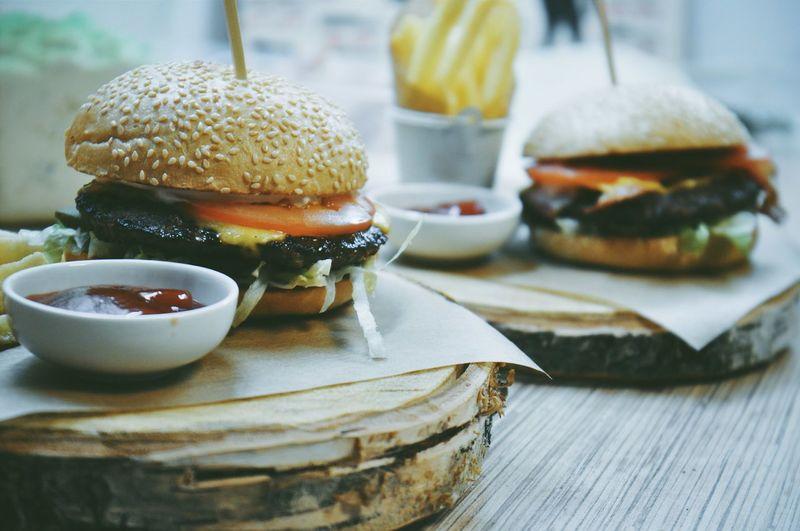Close-up of hamburger
