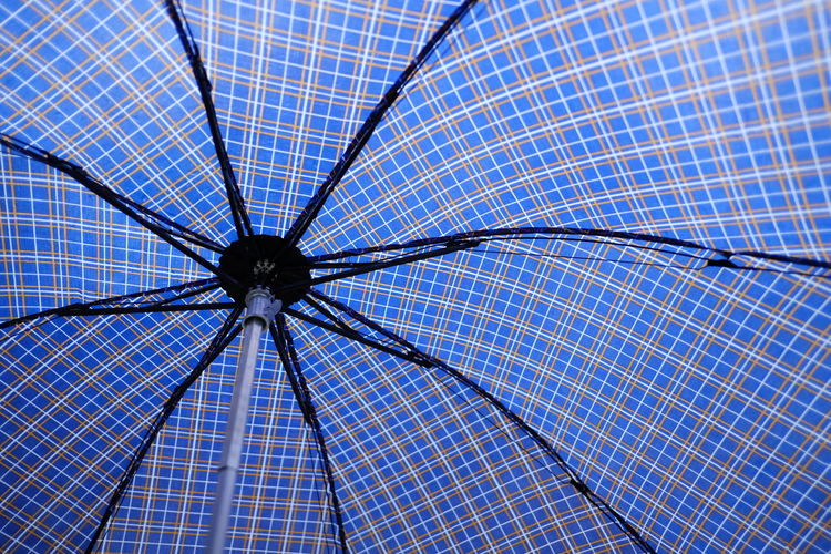 Blue Pattern Protection Checked Pattern Low Angle View No People Umbrella Full Frame Security Nature Single Object Indoors  Close-up Backgrounds Day Geometric Shape Flooring Shape