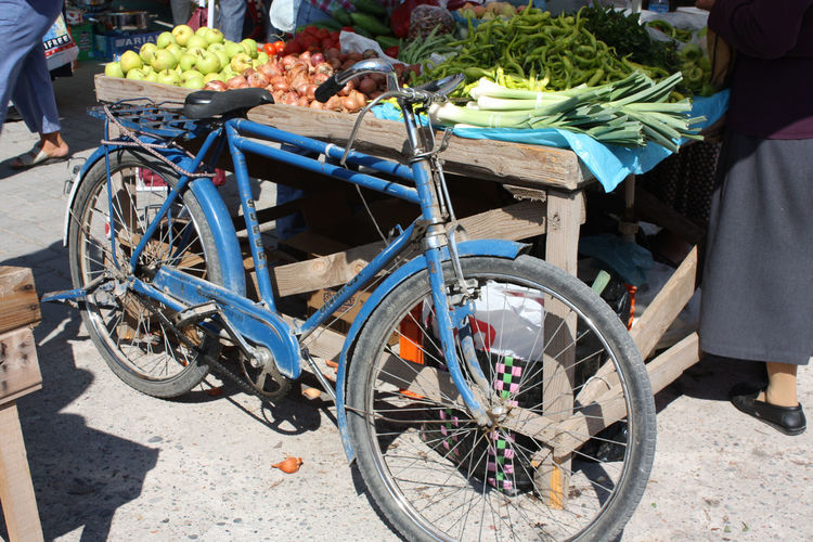 Bicycle In Front Of A Vegetable Stall