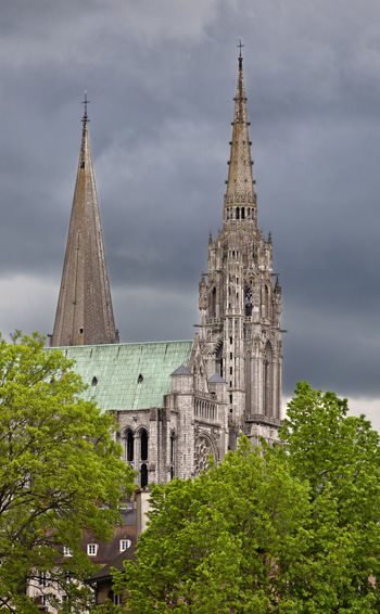 Chartres Cathedral in a cloudy day. Cathedral Chartres Chartres, France Cloudy Sky Travel Architecture Building Building Exterior Built Structure Cloud - Sky History Landmark Outdoors Place Of Worship Religion Spirituality Tourism Towers