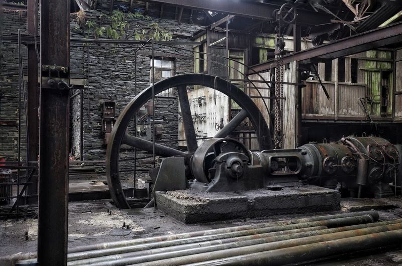 Old machinery in factory