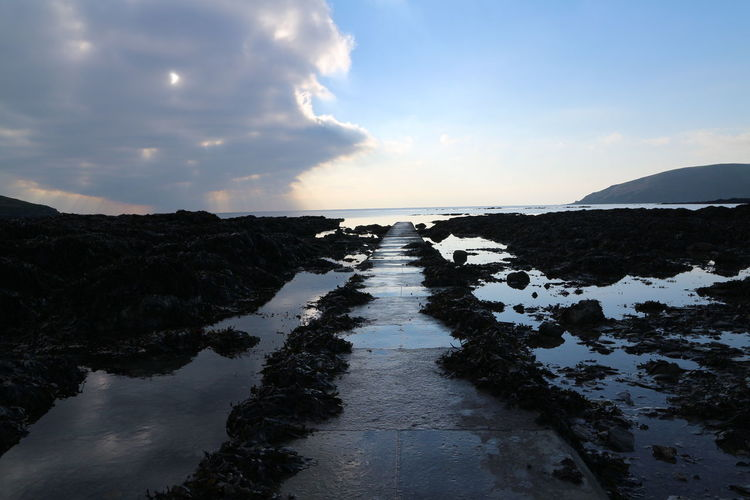Beauty In Nature Cloud - Sky Day Distance Extreme Weather Flood Forwards Hannafore Jetty Journey Lake Landscape Looe Nature No People Outdoors Pier Reflection Scenics Sky Tranquility Water