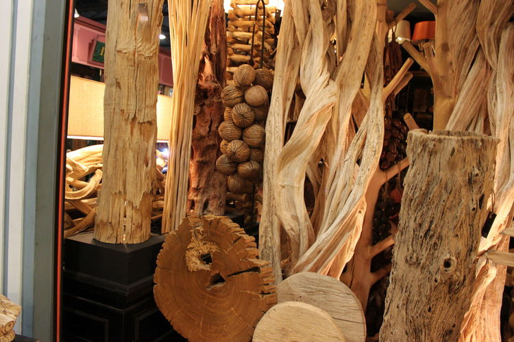 Close-up of wood art in store