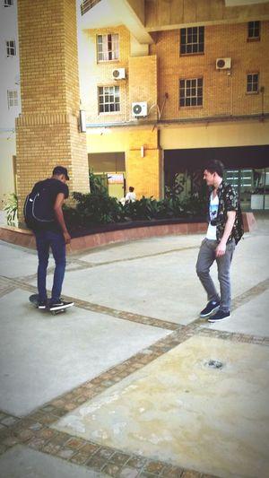 Fooling around in Hatfield between lectures Pretoria City Skateboarding Hatfield