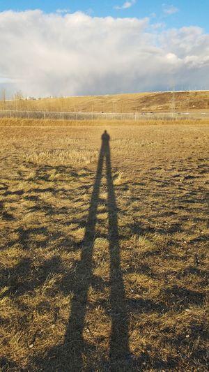 Shadow of man on field against sky