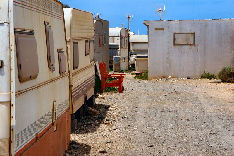 Canary Islands Caravan Caravan Fuerteventura Kanarische Inseln No People Punta De Jandia Rusty Caravan Trailer Park Transportation