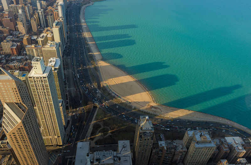 Lake Michigan, clear lake, Chicago Skyscrapers, Illinois, USA Chicago Illinois Michigan Skyscrapers Aerial View Architecture Building Exterior Buildings Built Structure City Cityscape Day High Angle View Lake Nature Nautical Vessel No People Outdoors Sea Skyscraper Transportation Travel Destinations Water