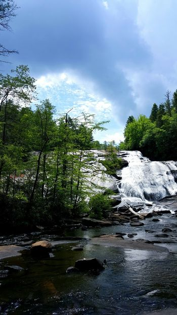 Waterfall Distant Waterfalls Water Landscape Nature Beauty In Nature Scenics Serenity Flowing Water Trees Blue Sky Lush Green Humid Climate Day Summer High Falls North Carolina