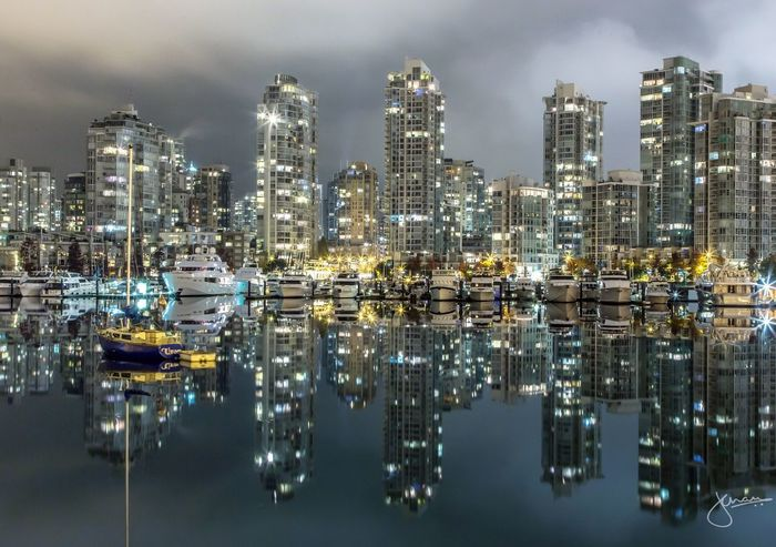 Yaletown Reflection Building Exterior Architecture Water Reflection Built Structure City No People Illuminated Sky Waterfront Travel Destinations Skyscraper Yaletown Vancouver Downtown Cityscape Night