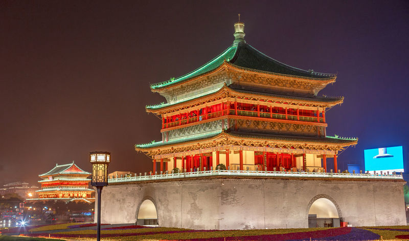 Bell Tower and Drum Tower in downtown Xi'an at night ASIA Asian Culture Cityscape Drum Tower Nightphotography Pagoda Xian Xian China Architecture Bell Tower Building Exterior Built Structure China Illuminated Low Angle View Night Night View Nightscape No People Outdoors Pagoda Building Pagoda Temple Sky