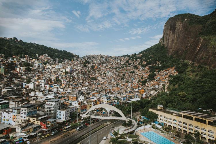 High angle view of brazilian slum against sky