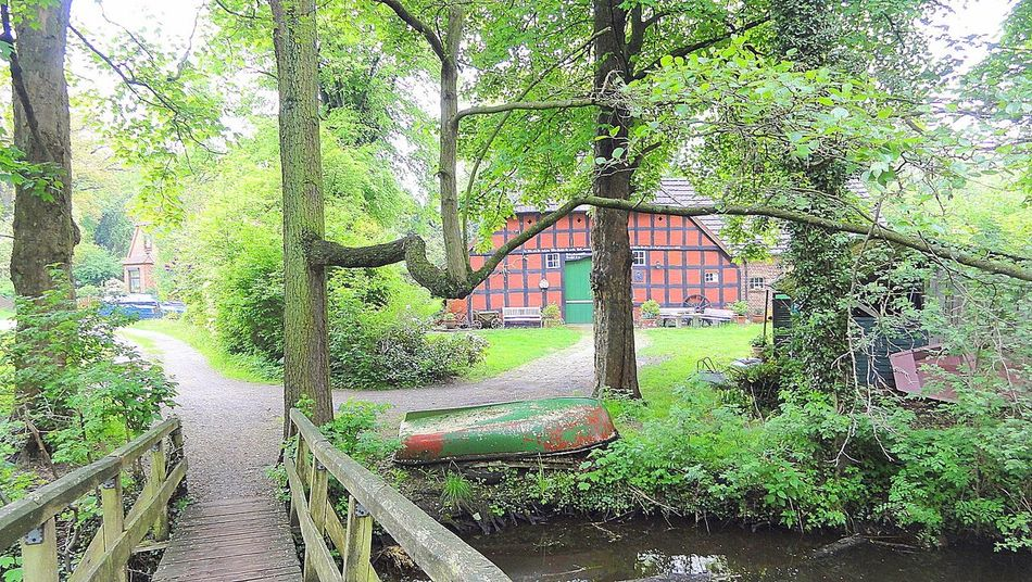 Idyllic Scenery Northern Germany Old Farmhouse Old Half-timbered Farmhouse Passing A Bridge Quiet Path Riverside Wooden Bridge