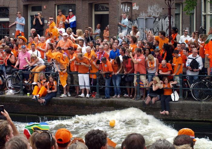 Adult Amsterdam Arjen Robben Boat Can Ceremony Crowd Day Dutch Dutch Soccer Team Lifestyles Orange Outdoors People Robben  Soccer World Champion World Championship Soccer 2010