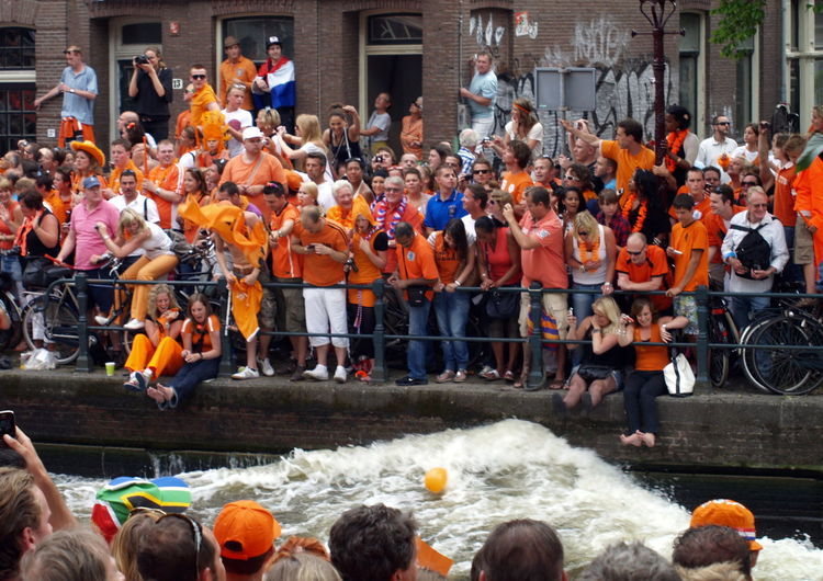 Adult Amsterdam Arjen Robben Boat Can Ceremony Crowd Day Dutch Dutch Soccer Team Lifestyles Orange Outdoors People Robben  Soccer World Champion World Championship Soccer 2010