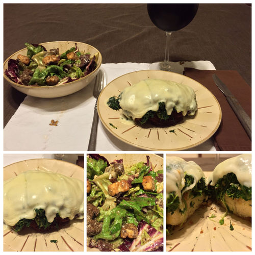 Tonight, I made chicken cutlets with spinach, sautéed with minced garlic & hot pepper seeds, topped with mozzarella. Served with a salad and my homemade 2013 Italian Amarone wine. ICanCookMyAssOff ItsAnItalianThing MyFoodPics Nomnombomb LaDolceVita