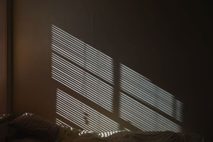 Venetian Blinds Slats Wall - Building Feature Bedroom Bed Morning Focus On Shadow Blinds Building Interior Built Structure Architecture No People Pattern Sunlight Illuminated Modern Window