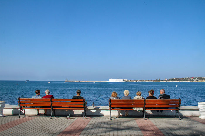 Relaxing Sevastopol  Adult Adults Only Beauty In Nature Black Sea Clear Sky Copy Space Day Horizon Over Water Nature Outdoors People Relaxation Scenics Sea Sitting Sky Sunlight Togetherness Tranquility Travel Destinations Water Young Adult