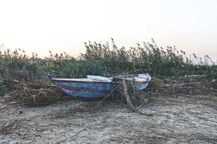 Popular Photos Check This Out EyeEm Best Shots Hello World My Best Photo Sky Mode Of Transportation Nautical Vessel Transportation Land Nature Plant Water Moored Day Tranquility Grass No People Field Beach Clear Sky Tree Tranquil Scene Outdoors Rowboat The Art Of Street Photography