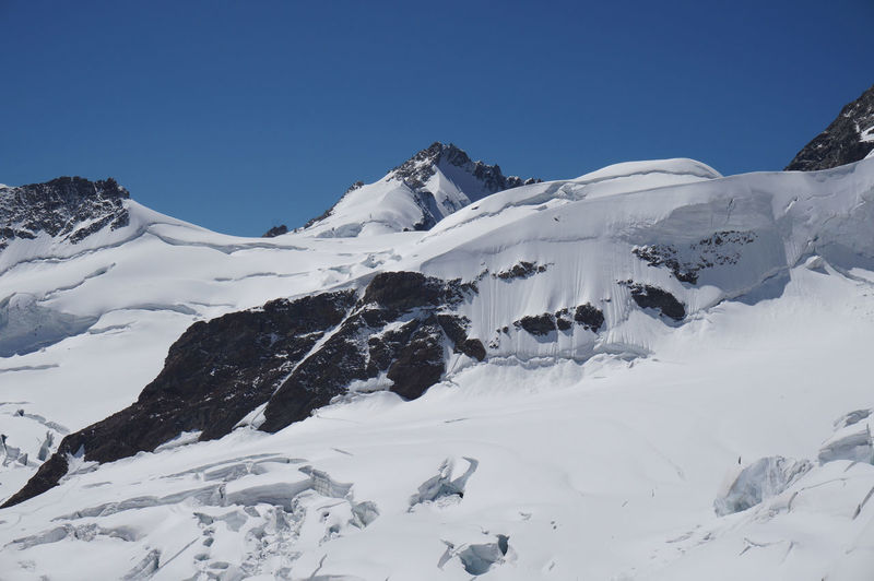 Jungfrau - Top Of Europe Alps Switzerland Beauty In Nature Blue Clear Sky Cold Temperature Day Jungfraujoch Low Angle View Mountain Mountain Range Nature No People Outdoors Scenics Sky Snow Snowcapped Mountain Tranquil Scene Tranquility White White Color Winter