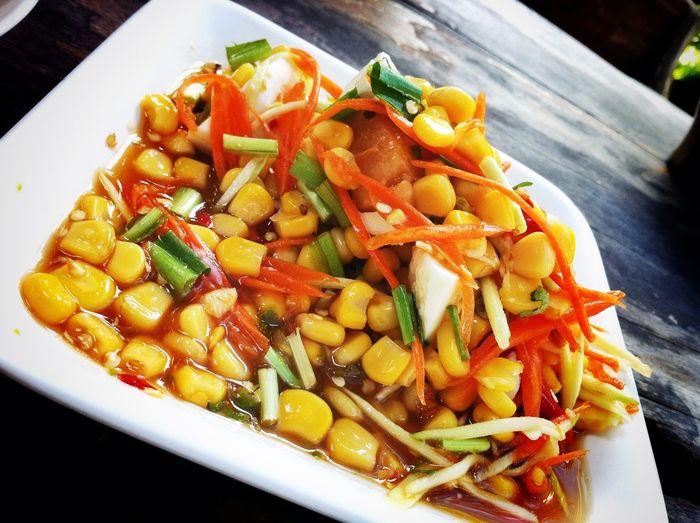Corn Salad Spicy Food Thai Food Thailand