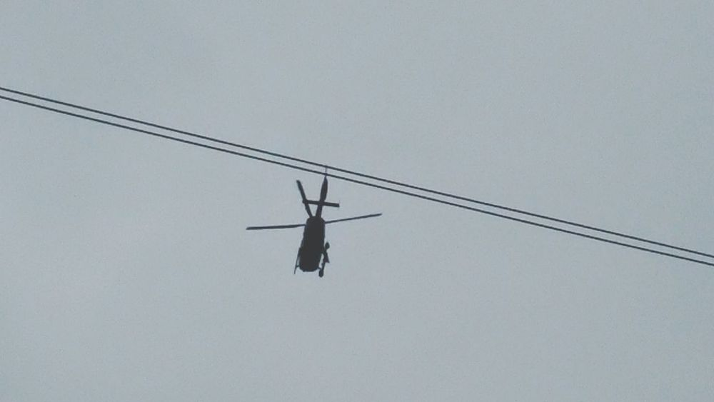 Phone Lines In The Sky Flying Police Helicopter Chopper Helicopter