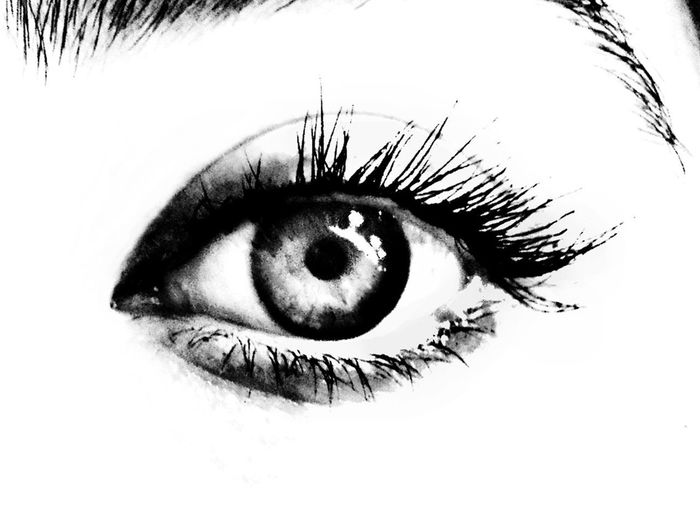 Edited Black And White Blackandwhite Body Part Close-up Extreme Close-up Eye Eyeball Eyebrow Eyelash Eyelid Eyesight Human Body Part Human Eye Human Face Human Skin Iris - Eye Looking At Camera Monochrome One Person Portrait Real People Sensory Perception Skin Women