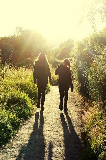 Rear View Of Sibling Walking Footpath Against Sky