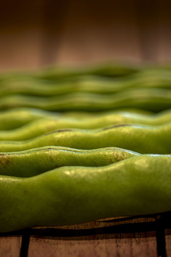 Close-up of green leaf on table at market