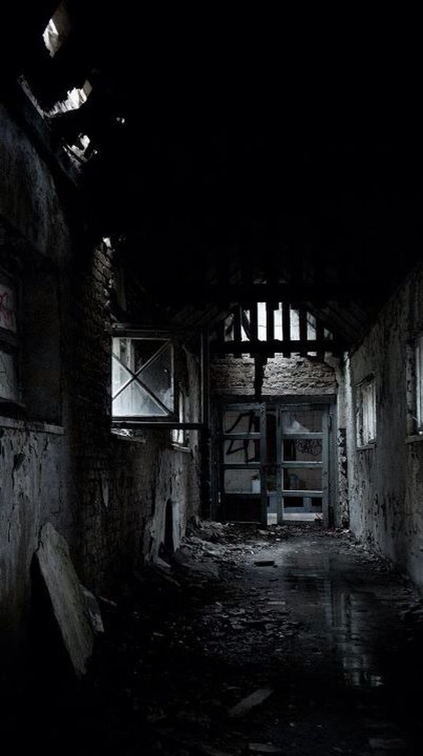 abandoned, architecture, built structure, obsolete, old, deterioration, run-down, damaged, indoors, house, weathered, interior, bad condition, night, building exterior, ruined, building, illuminated, the way forward, destruction