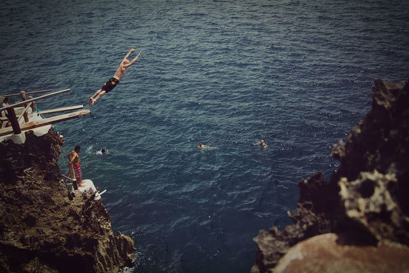 Ariel's Point Cliff Diving Water Nautical Vessel Sea Men Outdoors Nature Day Jumpshot Cliff Diving Adventure Eyeem Philippines Daredevil