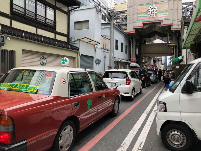 Traffic in Kyoto. Mode Of Transportation Building Exterior Motor Vehicle Car City Street Motion