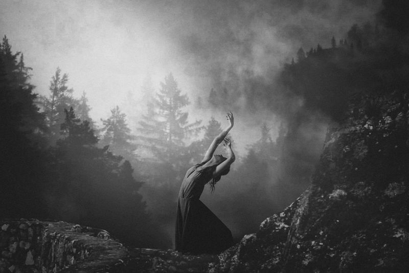 Atmospheric Mood Black & White Dramatic Sky Fog Gilr MIS Outdoors Photomanipulation Power In Nature