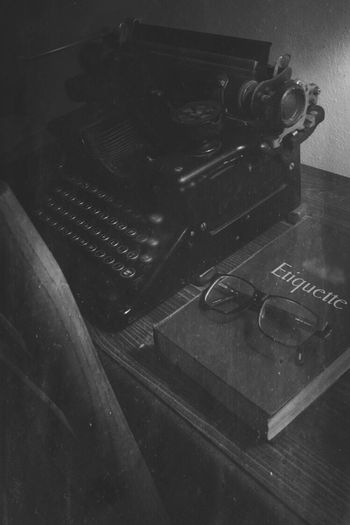Old Vintage The OO Mission The Mix Up Right Lane Must Turn Right Black And White Blackandwhite Glasses Typewriter Book Etiquette Side View Ultimate Japan Fine Art Photography Fine Art Photography